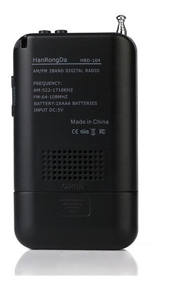 Hrd-104 Portátil Am / Fm Rádio Estéreo Bolso 2 Banda Digital