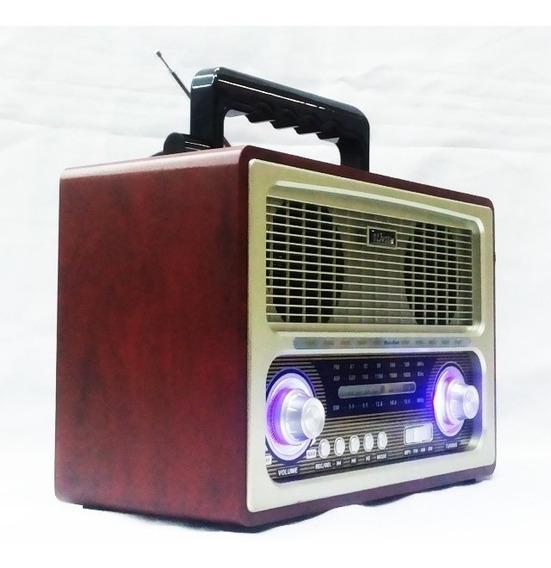 Radio Portátil Retro Am Fm Pen Drive Sd Recarregável Bege