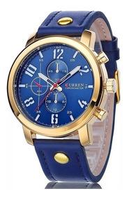 Relógio Curren 8192 Azul Dourado Novo Barato Frete Grátis