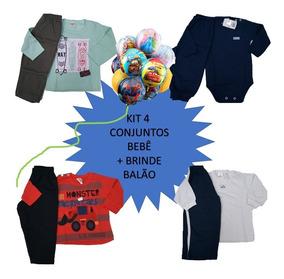 Kit 4 Conjunto Moletom/inverno Infantil Bebê Atacado +brinde