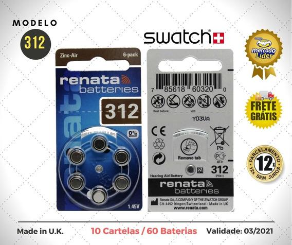 60 Baterias Pilhas Aparelho Auditivo 312 / Pr41 - Renata