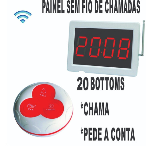 Chama Garçom Wireless Restaurante Bar Mesa