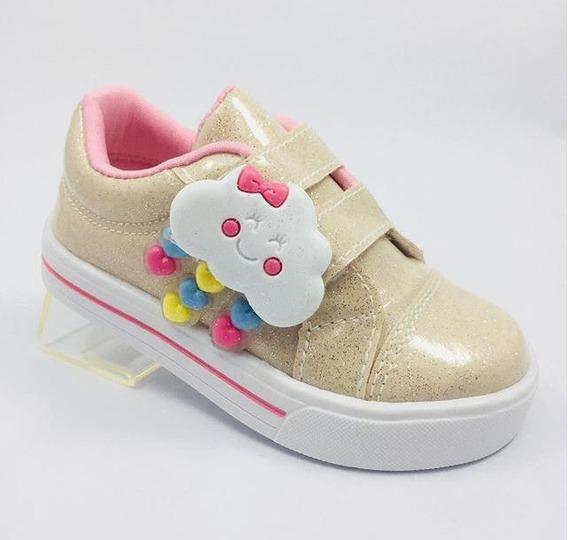 Tênis Infantil Menina Velcro Chuva De Benção