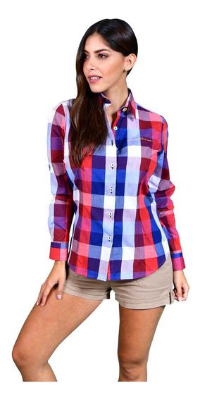 Camisa Porto Blanco Dama Azul Y Roja Cuadros