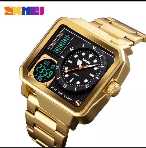 Relógio Skmei Original Dourado Escovado Aprova D