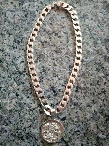 Cordão De Prata Maciça Grossa 925 61cmx1,5cm C/pingente
