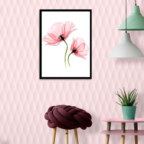 Quadro Decorativo Inclui Moldura Floral Aquarela