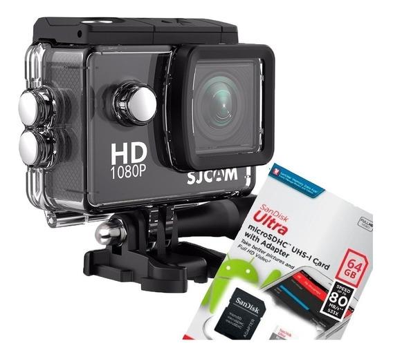 Câmera Filmadora Sjcam Sj4000 Hd Prova Dágua 1080p + 64gb Sd
