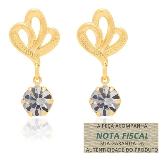 Brinco Base Flor Tendo Cristal Ouro Rommanel 525199