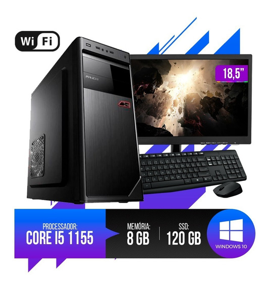 Pc Completo Core I5 8gb Ram Hd Ssd 120gb Monitor 18,5 Led.