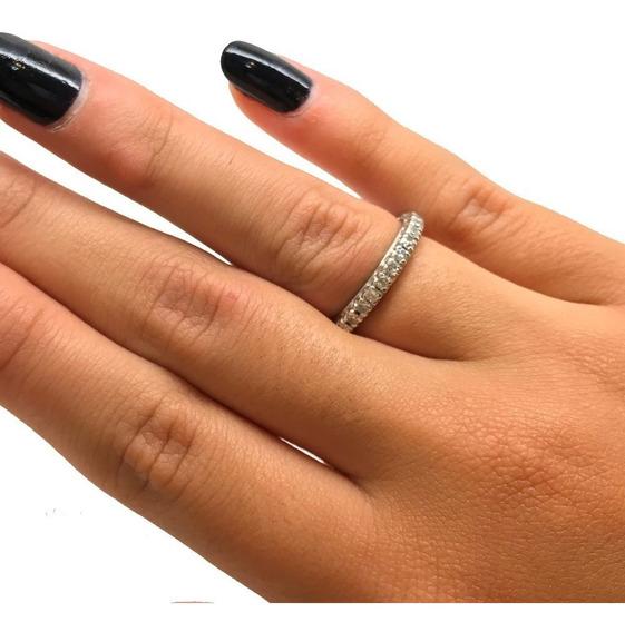 Aliança Diamante Natural Inteira Ouro Branco 18k 08156 K990