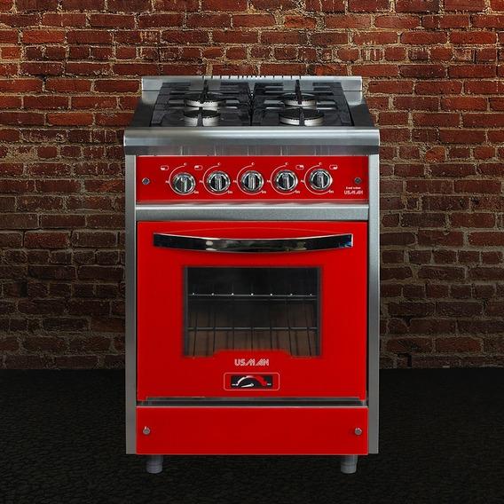 Cocina Industrial Acero Roja 60cm 8010 R.f.