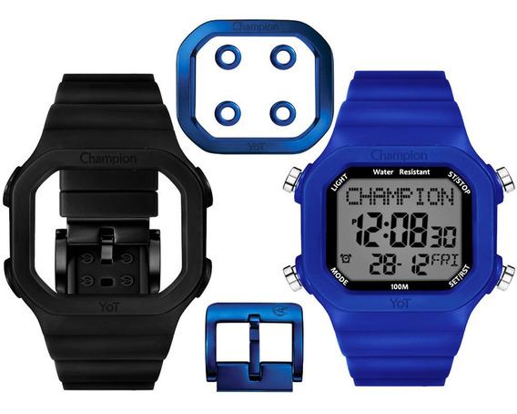 Relógio Champion Digital Yot Troca Pulseira Azul Preto