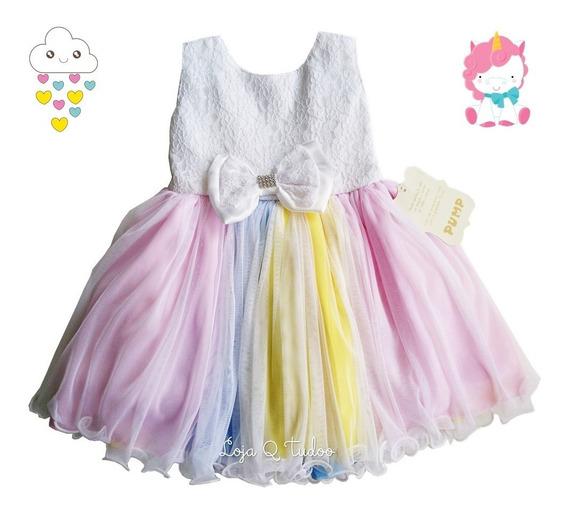 Vestido Infantil Festa Unicórnio Chuva De Benção Arco Íris