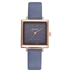 02eac09ae32f Reloj De Pulsera De Cuero Cuadrado Clasico Para Dama Con Jue