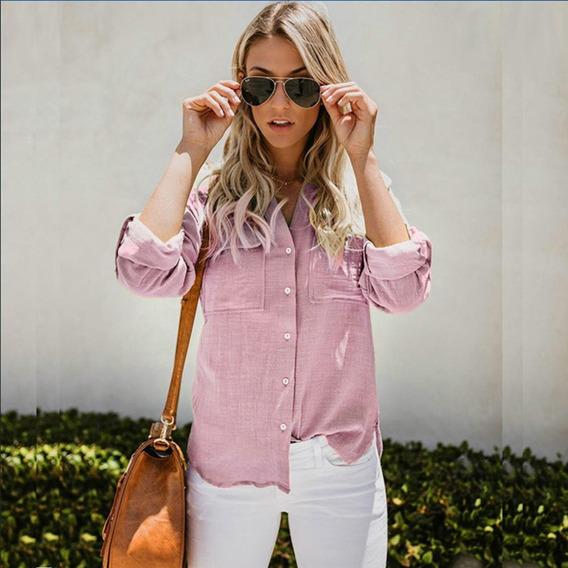 Camisa Blusa Algodón Dama Casual Moda Manga Larga Elegante