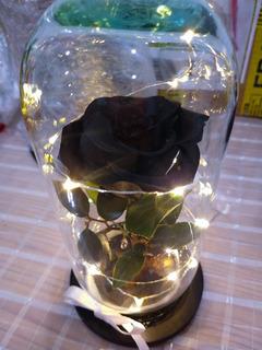 Rosa Eterna Negra Con Luz Led