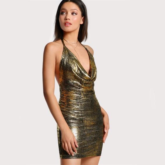 Sexy Vestido Coctel Dorado