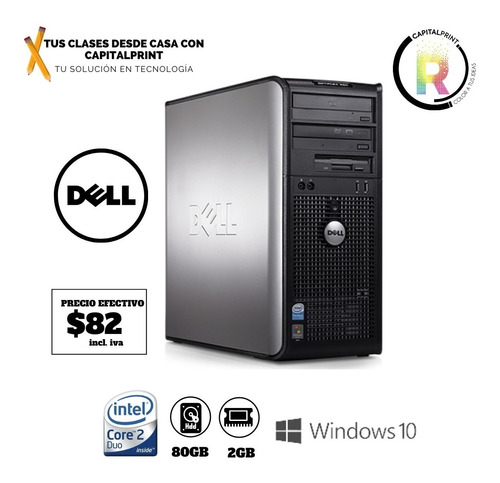 Imagen 1 de 1 de Cpu Dell Core 2 Duo 2gb - 80gb Seminuevo