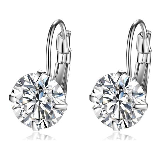Par Brinco De Prata 925 Feminino Diamante Sintético Pequeno