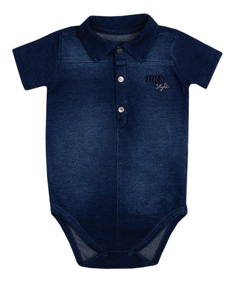 Body Bebê Menino Denim Jeans
