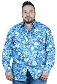Camisa Plus Size Bigshirts Manga Longa Estampa Trop - Azul
