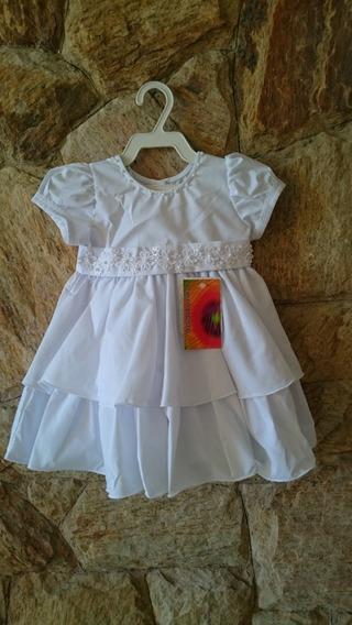 Vestido Bebê Festa Batizado Bordado Pérolas Tam P,m,g