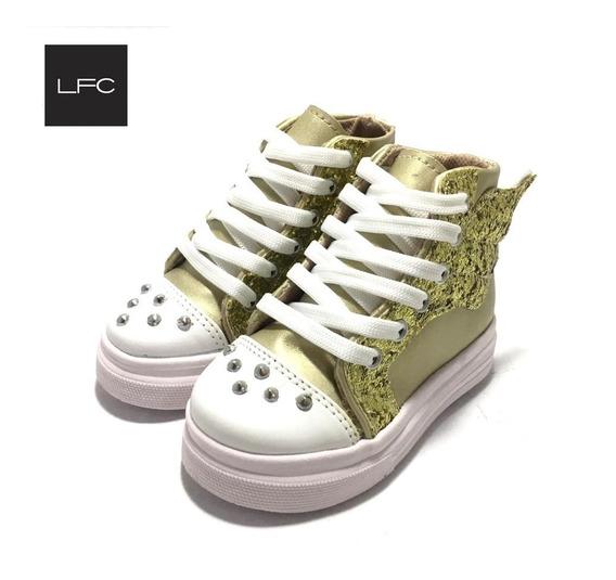 Zapatillas De Niñas Botita Con Glitter Brillo (11/3000)
