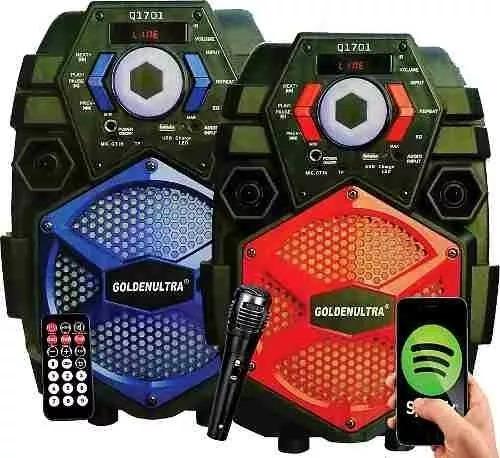 Caixa De Som Microfone S/fio Amplificada Bluetooth Q1701 Rms