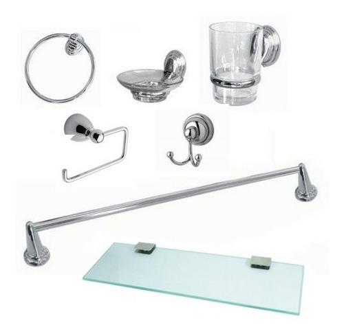 Set Accesorios De Baño Set 7 Piezas Incluye Repisa Vidrio