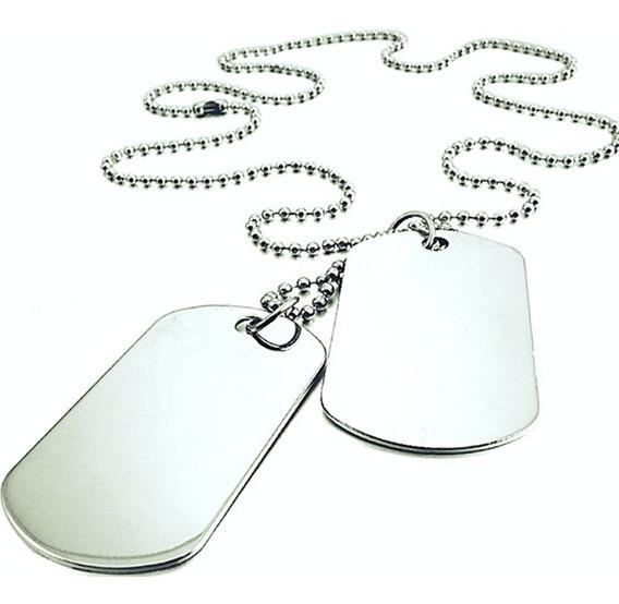 Cordão Militar Aço Inox 2 Placas Dog Tag
