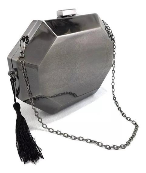 Bolsa Clutch Feminina Festa Metal Moda Geometrica