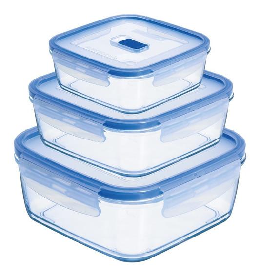 Set 3 Herméticos Cuadrados 38cl/76cl/122cl Pure Box