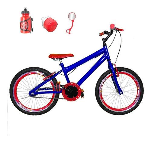 Imagem 1 de 1 de Bicicleta Aro 20 Azul Kit Aero Vermelho Com Brindes Cma3b