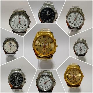 Reloj Pulsera Hombre Metalico Y Dorado Varios X Mayor X 10