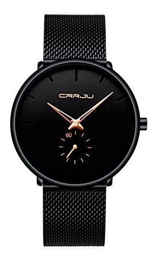 Crrju Reloj Metálico Hombre Elegante, Minimalista (n/dorado