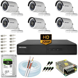 Kit Cftv 6 Câmeras Hd 720p 1mp 20m Dvr Hikvision Ds-7208 1tb