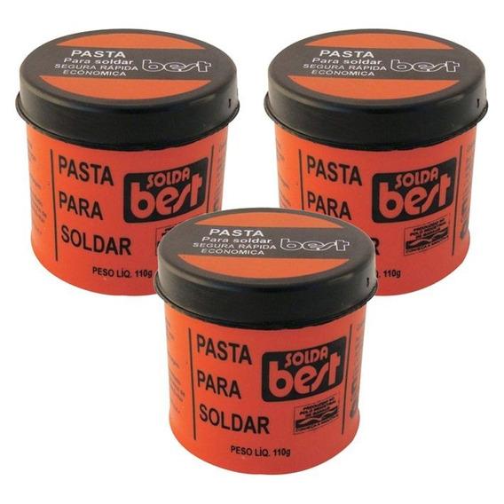 Kit 3 Pasta Para Soldar Best Pote 110g Plastico Fluxo