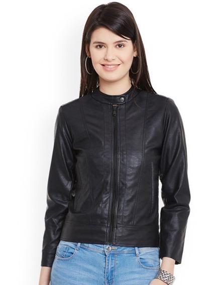 Jaqueta Importada Feminina Em Couro Legítimo Elegante Preto