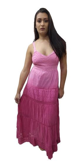Vestido Longo Alça Algodão Renda Indiano Boho 729