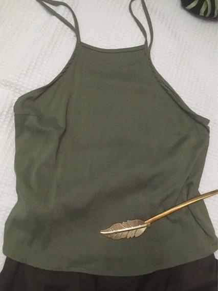 Musculosa De Lino Verde Militar