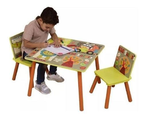 Mesa Infantil Selva Com 2 Cadeiras Para Atividades Escolares