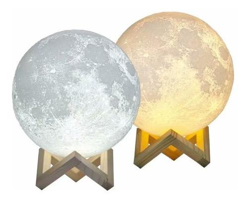 Lámpara Con Base Diseño De Luna 3d Recargable