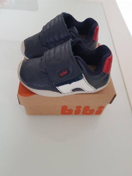 Sapato Tênis Couro Bibi Azul Semi Novo
