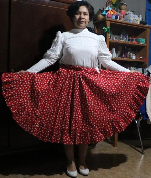 Vestido Folclore Baja California Sur: Blanco / Rojo
