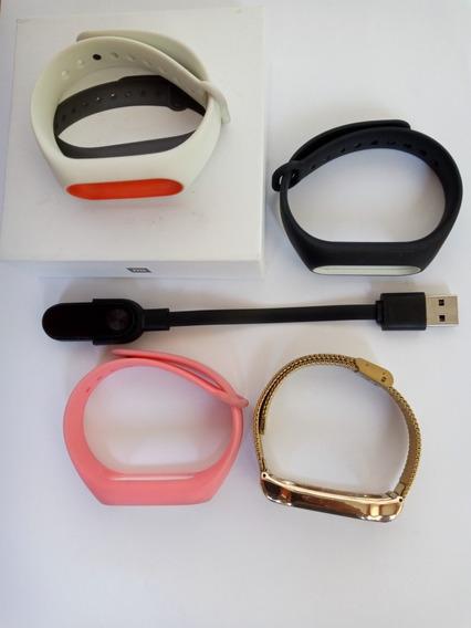 Relógio Mi Band 2 Com Pulseira Inox Dourada + 3 Pulseiras
