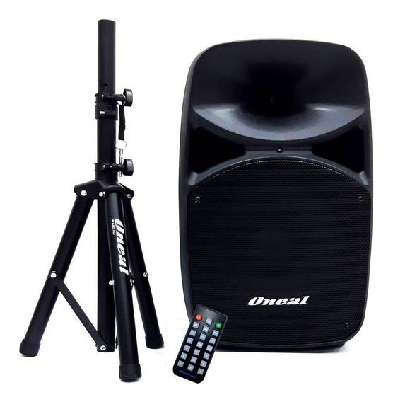 Caixa De Som Amplificada Oneal Opb915 Com Tripe Bluetooth