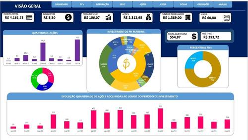 Imagem 1 de 1 de Planilha Controle Financeiro Dos Investimentos Completa