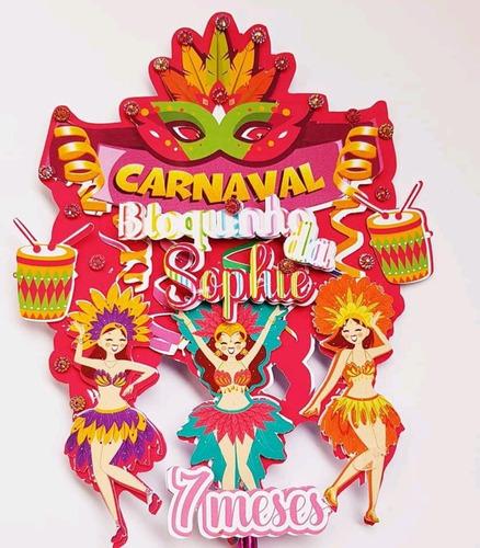 Kit Personalizado Carnaval 20 Itens + Topo De Bolo