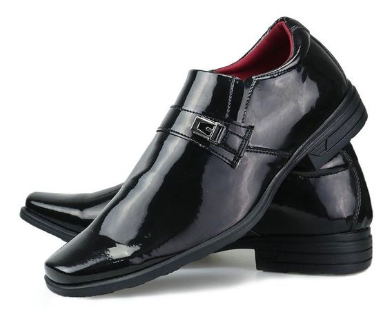 Sapato Social Masculino Envernizado Fivela Brilhoso Original